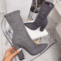 2019 New Design Print Ankle Boots Women heels For Autumn Winter Fashion Pointed Toe Square heel Zipper Woman Boots Shoes