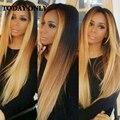 Mink Grau 10A Brasileiro Ombre Cabelo Liso Brasileira Com Fecho virgem do cabelo 4 bundles com lace closure humano dois tons cabelo