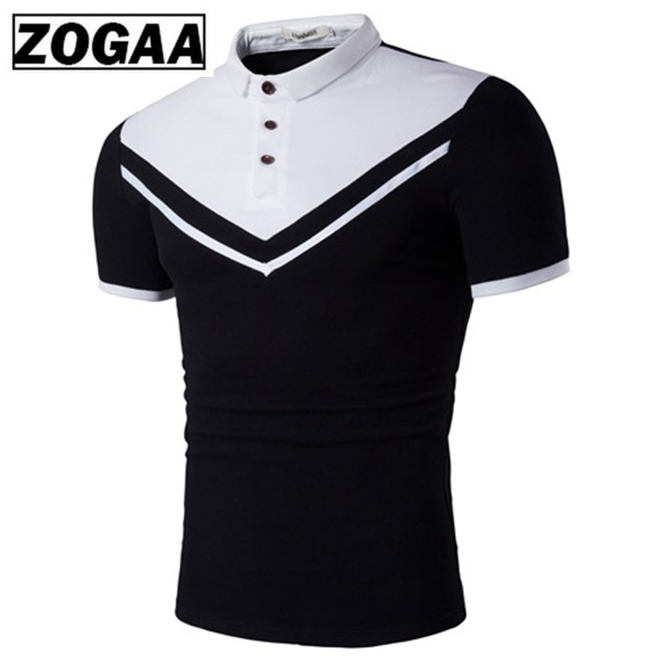ZOGAA Brand New Men Polo Shirt Business Casual Solid Male Short Sleeve Color Block Slim Fit Mens