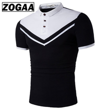 ZOGAA Brand New Men Polo Shirt Men Business Casual Solid Male Polo Shirt Short Sleeve Color Block Polo Shirt Slim Fit Polo Mens casual color block half button polo t shirt