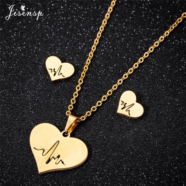 392437bcb Jisensp Ecg Heartbeat Necklace Love Heart Necklaces Pendants for Women Gold  Stainless Steel Jewelry Earrings Doctor Accessories
