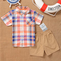 SS2-015,Original,New Items, Toddler Boys 2-Piece Plaid Top and Short Set, Plaid Pattern, Free Shipping