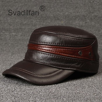 Adjustable Size Leather Baseball Cap Men's Winter Hat New Thicker Warm Cowhide Simple Fashion Male Bone Snapback Dad's Hats siloqin new winter men s genuine leather hat thicken warm cowhide leather baseball caps with ears dad s hats snapback brands cap