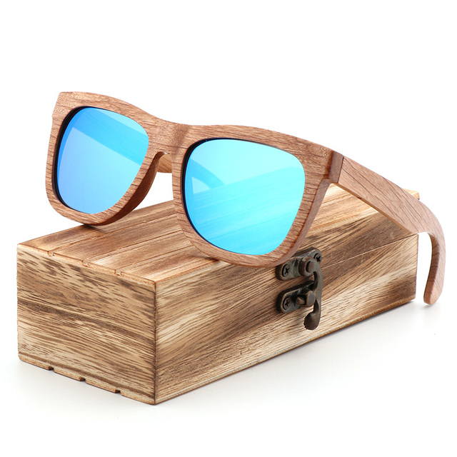 Retro vintage polarized mens sunglasses  men wood handmade blue beach mirror women outdoor sun glasses UV400 With bamboo box