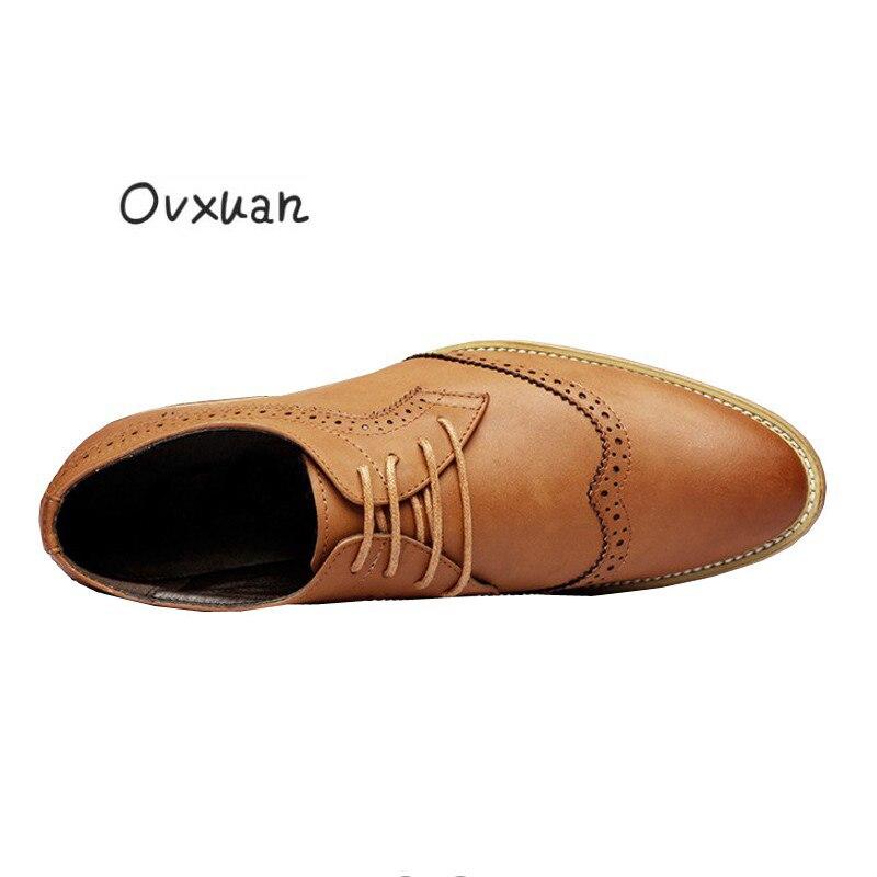 Escuro De Escritório Couro Oxford Mens cáqui amarelo Casuais Italiano Negócios Vestido Sapatos Homens Ovxuan Esculpida Preto Genuíno Brogue Formais Casamento zwxq4BHg7n