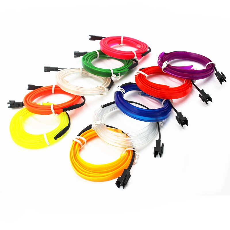 Электролюминесцентный трос, трубчатый кабель, Светодиодная лента, гибкая неоновая лампа, светящаяся гирлянда для украшения автомобиля с 6 м...