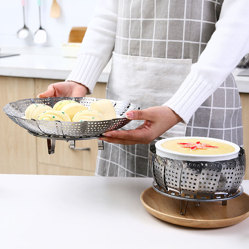 Kitchen Stainless Steel Steamer Fruit Basket Steamed Food Rack Retractable Folding Steamer Cooking Tool