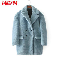 Tangada Blue Thick Warm Women Faux Fur Turn Down Collar Double Breasted Coat Winter Pockets Ladies Jacket Female Casual BE95