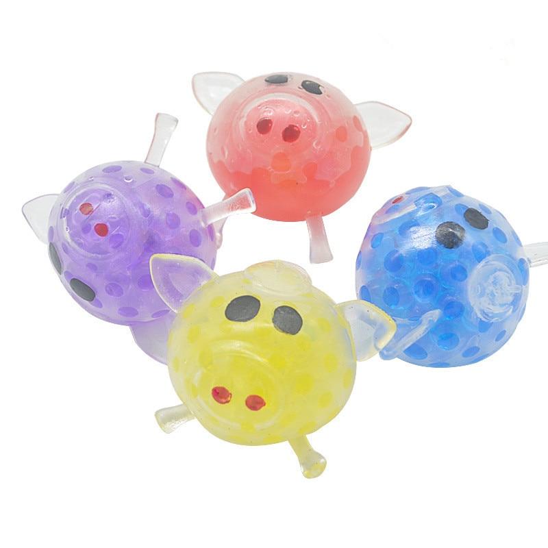 Novel 8cm Bead Stress Ball Viscous Squeeze Pig Stress Release Stress Squeeze Toy Stress Release Lovely Wet Soft Toy Drop Transpo