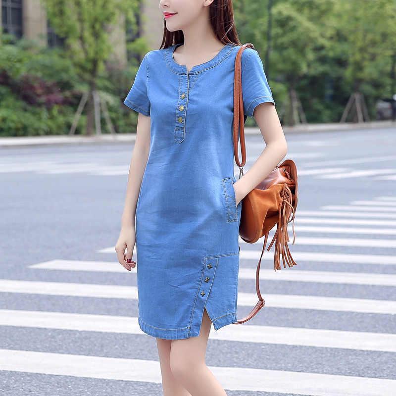 В Корейском стиле для девочек; детское джинсовое платье для женщин 2019 новые летние повседневные джинсы платье с карманами на пуговицах; пикантные джинсовые мини платье Большие размеры 3XL A1425