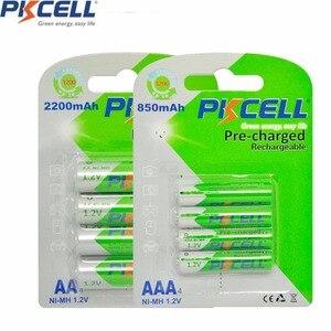 Image 1 - 8 шт. PKCELL 1,2 в никель металлгидридный NiMh AAA Перезаряжаемые Батарея рулонный батареи низкая степень самостоятельной разрядки (4 батарейки типа АА 2200 мА/ч +, 4 шт. AAA 850 мА · ч)