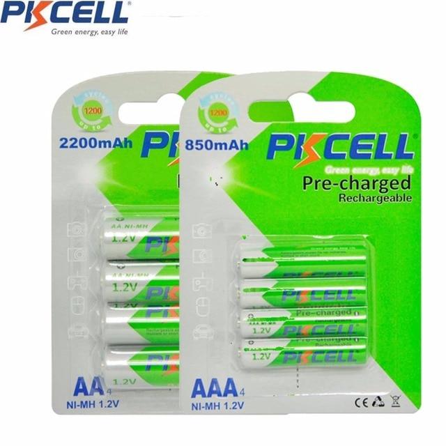 8 шт. PKCELL 1,2 в никель металлгидридный NiMh AAA Перезаряжаемые Батарея рулонный батареи низкая степень самостоятельной разрядки (4 батарейки типа АА 2200 мА/ч +, 4 шт. AAA 850 мА · ч)