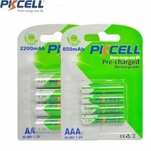 8pcs PKCELL 1.2V NiMh AA AAA Rechargeable Battery Precharge Batteries low self discharging (4Pcs AA 2200mAh +4Pcs AAA 850mAh)