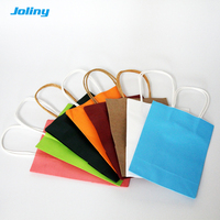 50 pcs Christmas Gift bag Recyclable Kraft paper bag with handle wedding birthday party gift package 15*21*8