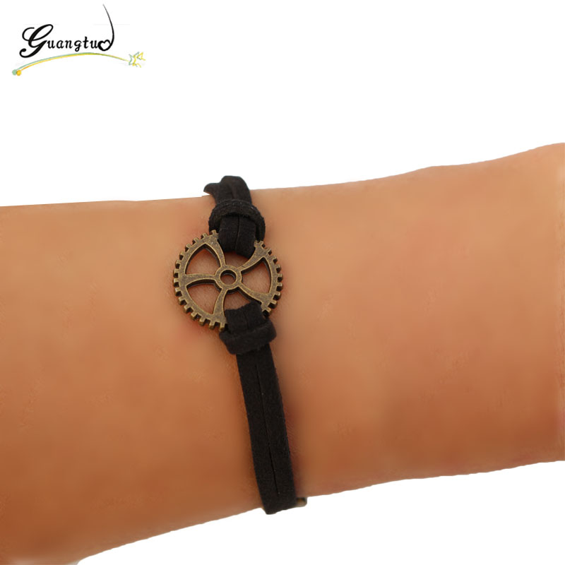 1Pcs Classic Gear Shape Bracelets Black Velvet Suede Leather Pulseiras Women Multilayer Bracelet Jewelry Decorative Bijoux