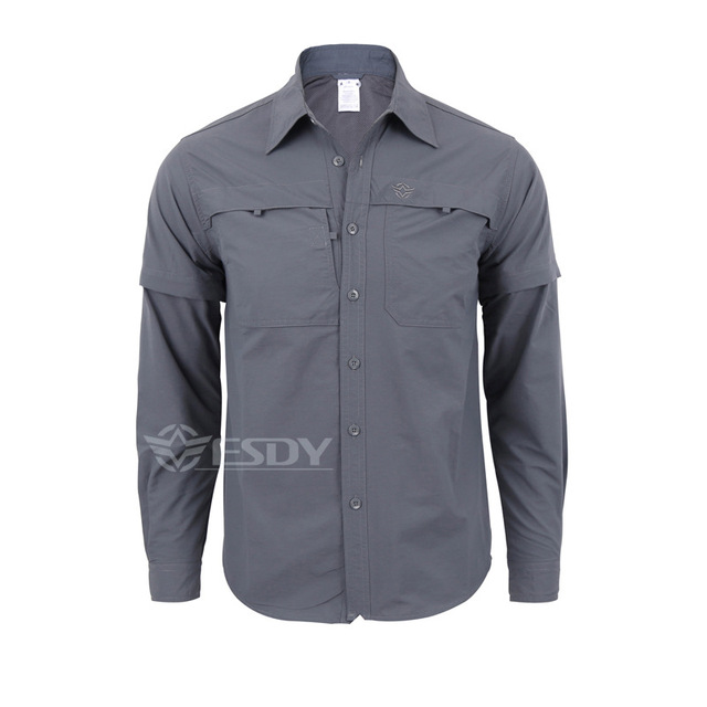 2018 New Army Men s Summer Tactical Shirt Quick Dry Shirt Removable Sleeve  Leisure Breathable UV Protection Military Shirt 589b6ea3670