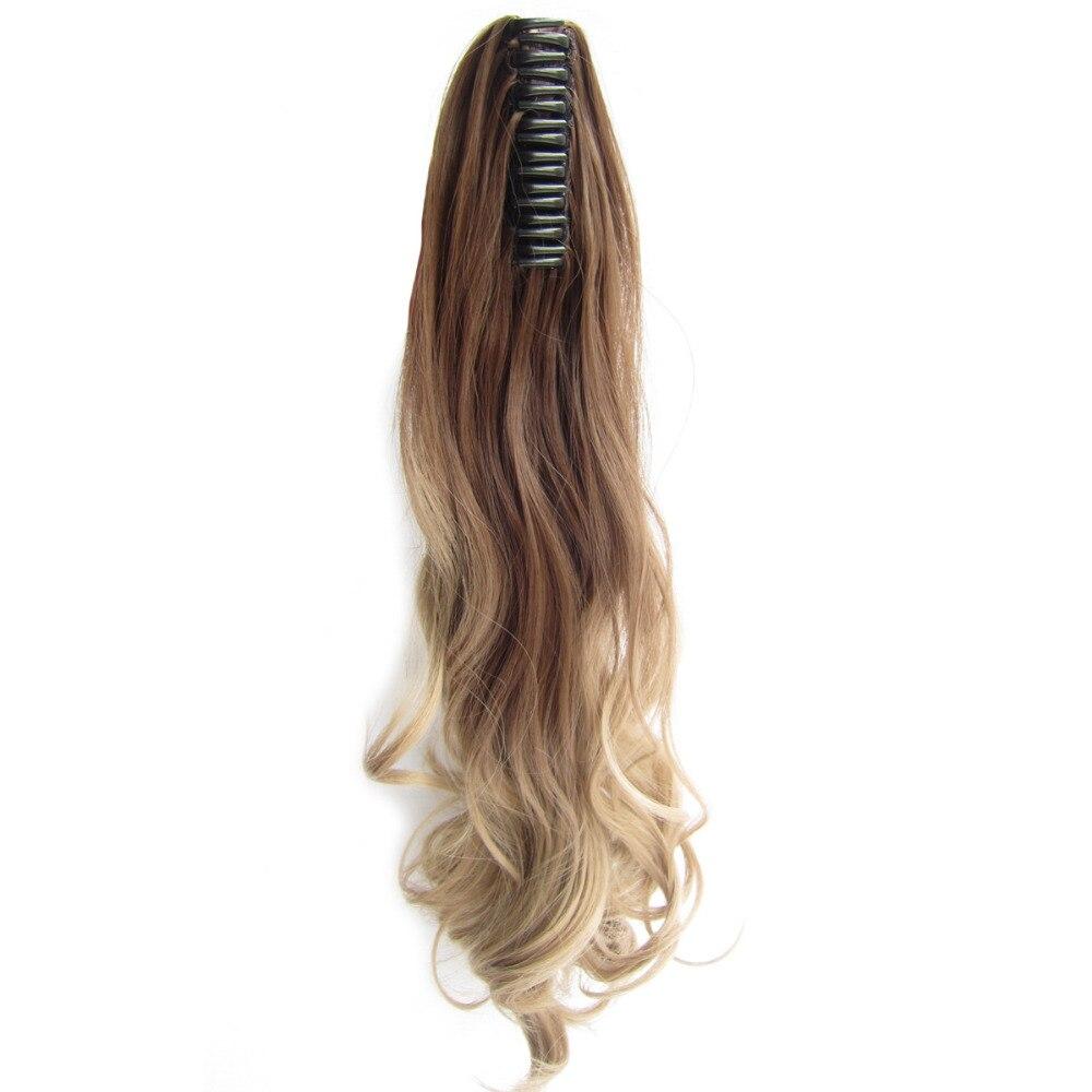 Delice 22inch Kvinnors Färgglada Ombre Vågig Hästsvans Svart Grå - Syntetiskt hår - Foto 4