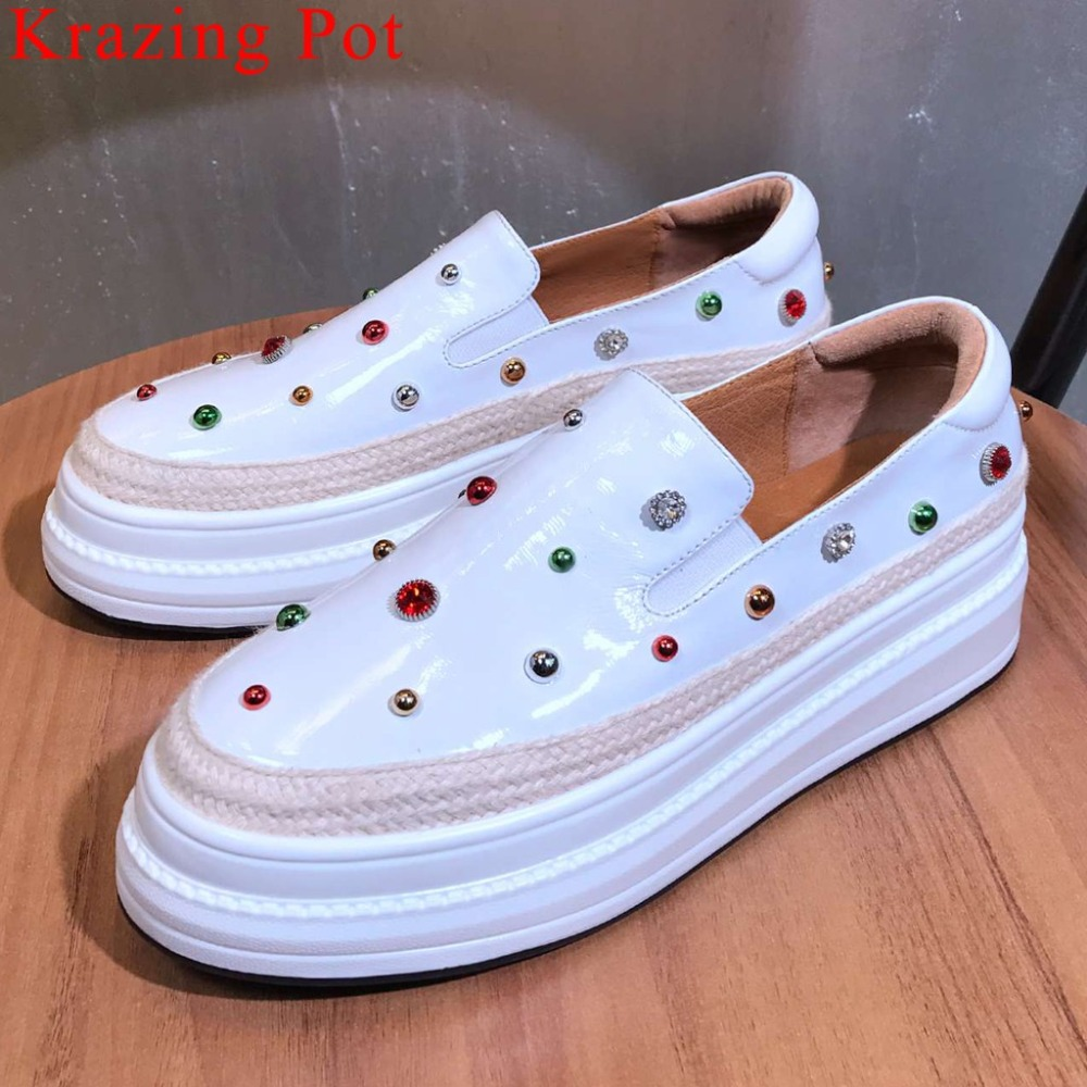 2019 new arrival med bottom platform colorful rivets crystals decoration loafers pretty girls streetwear vulcanized shoes L18-in Women's Vulcanize Shoes from Shoes    1