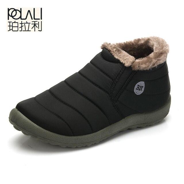POLALI Mới Thời Trang Nam Mùa Đông Giày Tuyết Màu Rắn Khởi Động Sang Trọng Bên Trong Chống Trượt Phía Dưới Giữ Cho Ấm Trượt Tuyết Không Thấm Nước Khởi Động Size35-48