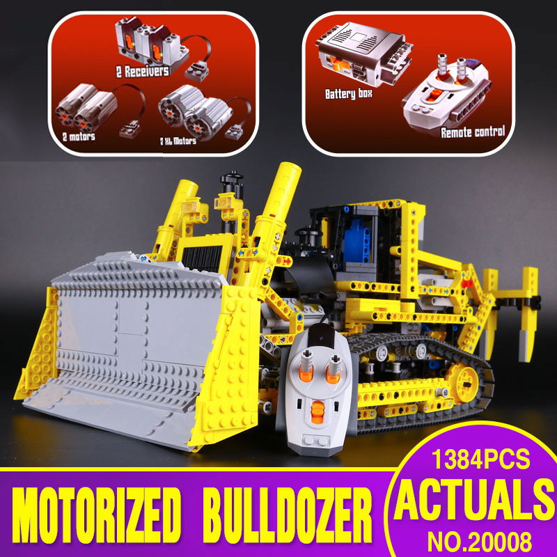 DHL 20008 Technic Car Toys Compatible With Lepining 8275 Motorized Bulldozer Model Building Blocks Bricks Kids Christmas Gifts