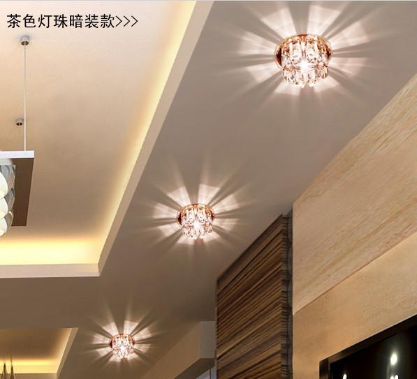 3 w led feux de couloir plafond de cristal projecteurs lampe pour salon surface mont moderne. Black Bedroom Furniture Sets. Home Design Ideas