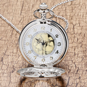 2016 New Arrival Hollow Silver Pendant Fob Pocket Watch With Necklace Chain For Men Women Free Drop Shipping