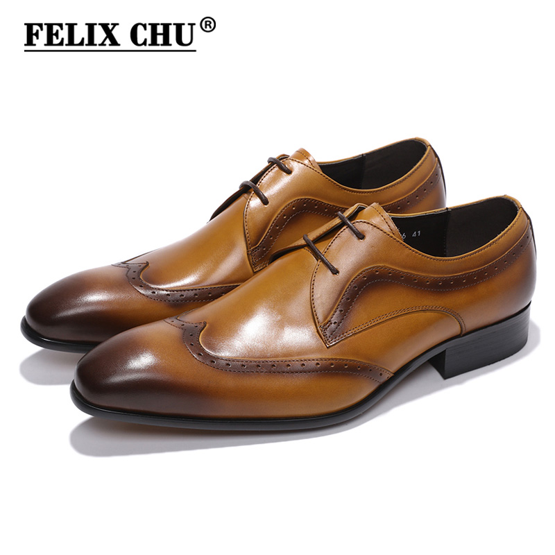 FELIX CHU Two Eyelet Design Lace Up Genuine Leather Men Formal Derby Shoes With Wingtip Detail Black Brown Dress Footwear contrast lace cuff frill detail smocked gingham dress