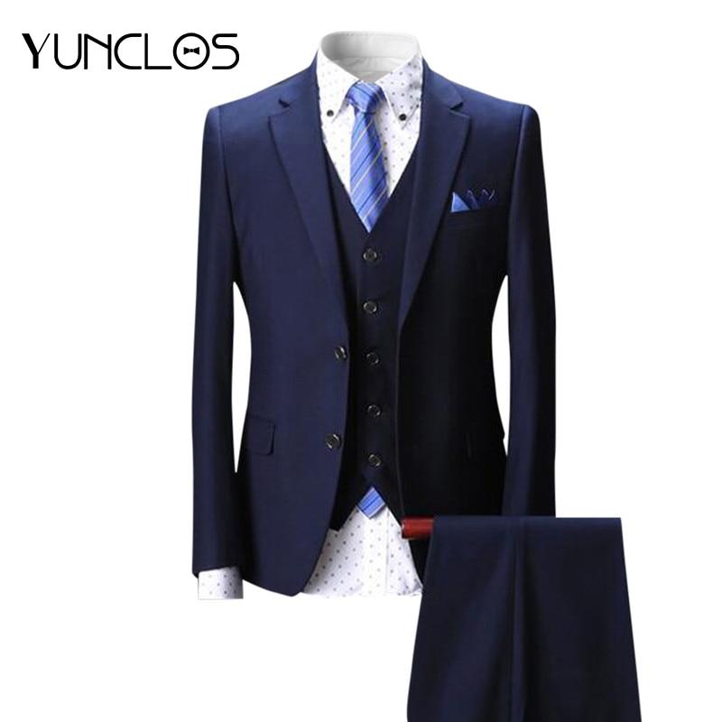 YUNCLOS Newest Men Suit 3 Pieces 2018 Two Buttons Navy Plaid Tuxedo Wedding Suits For Men Business Formal Suits ...
