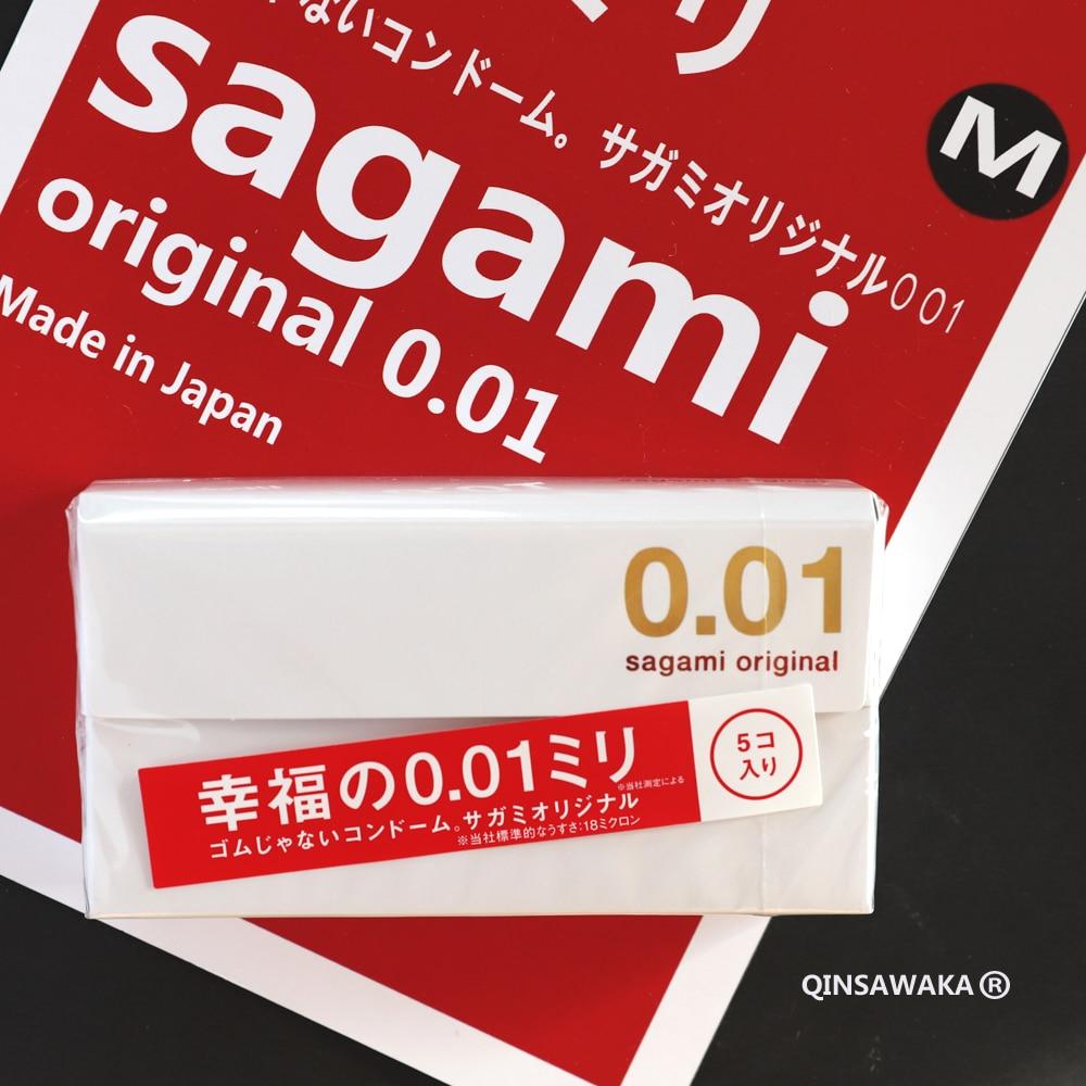 0.01mm MADE IN JAPAN 5pc super slim ultra thin like not wearing SAGAMI 001 Condoms for men sex ORIGINAL NO Rubber Polyurethan M Пенал