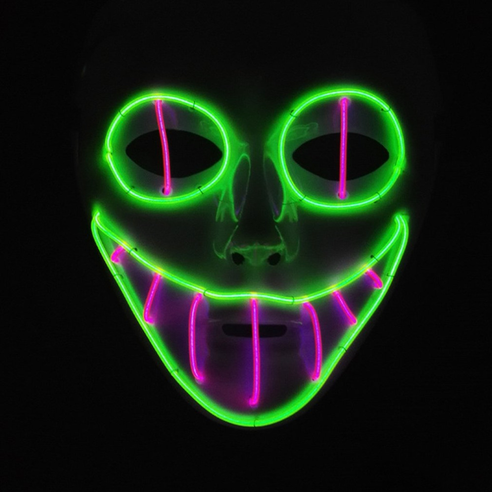 EL Luminous Mask Cold Light Cosplay EL LED Wire Clown Mask Halloween & Carnivals Party Costumes 2018 Christmas NewYear Wholesale