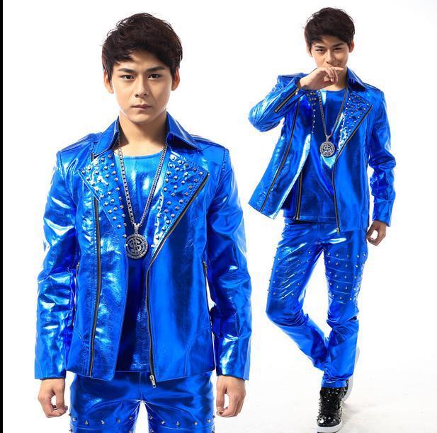 Blue Rivets Diagonal Zipper Stage 1 Fashion Man Leather Jacket Short