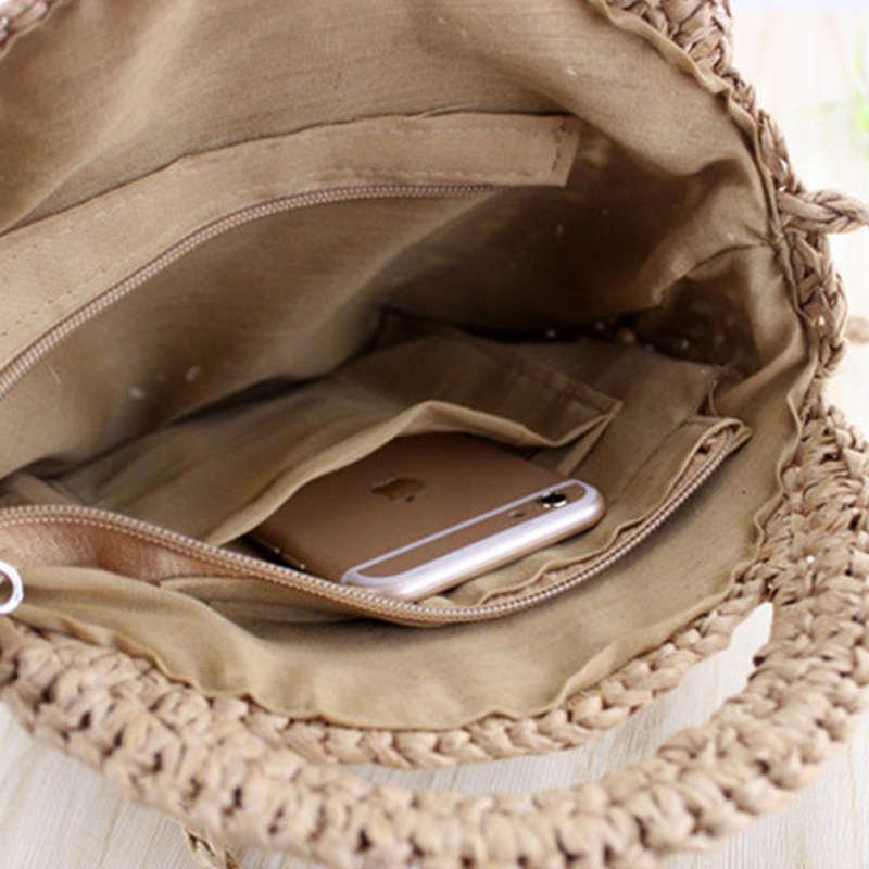 Fggs Bulat Tali Kertas Tas Pantai Musim Panas Mini Vintage Handmade ... 12f8b1291c