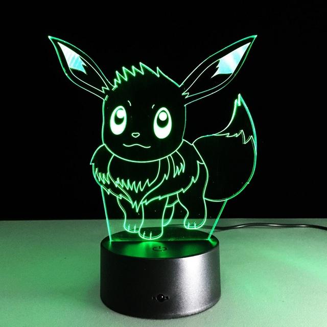 2016 NOVO IR Eevee Pokemon Ação & Toy Figura Presente 3D LED Candeeiro de mesa Feito de PMMA Tem 7 Cores Mudando Figuras Pokemon figuras