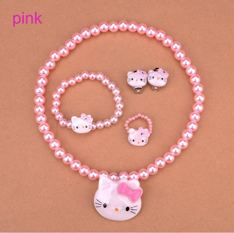 c5f9a1ee0 Plastic Pearl Baby Jewelry Cheap Child Girl Kids Jewellery Sets Hello Kitty  Bead Necklace Bracelet Ring Sets Earring-in Jewelry Sets from Jewelry ...