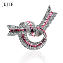 JUJIE Rhinestone Brooches For Women 2017 Exquisite Pink Crysatl Brooch Pins Unique Design Bowknot Brooches Fashion Jewelry