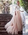 ZYLLGF Bridal Princess V Neck Robe De Soiree Three Quarter Sleeve Evening Dresses Long Tulle Formal Evening Party Dress DR25