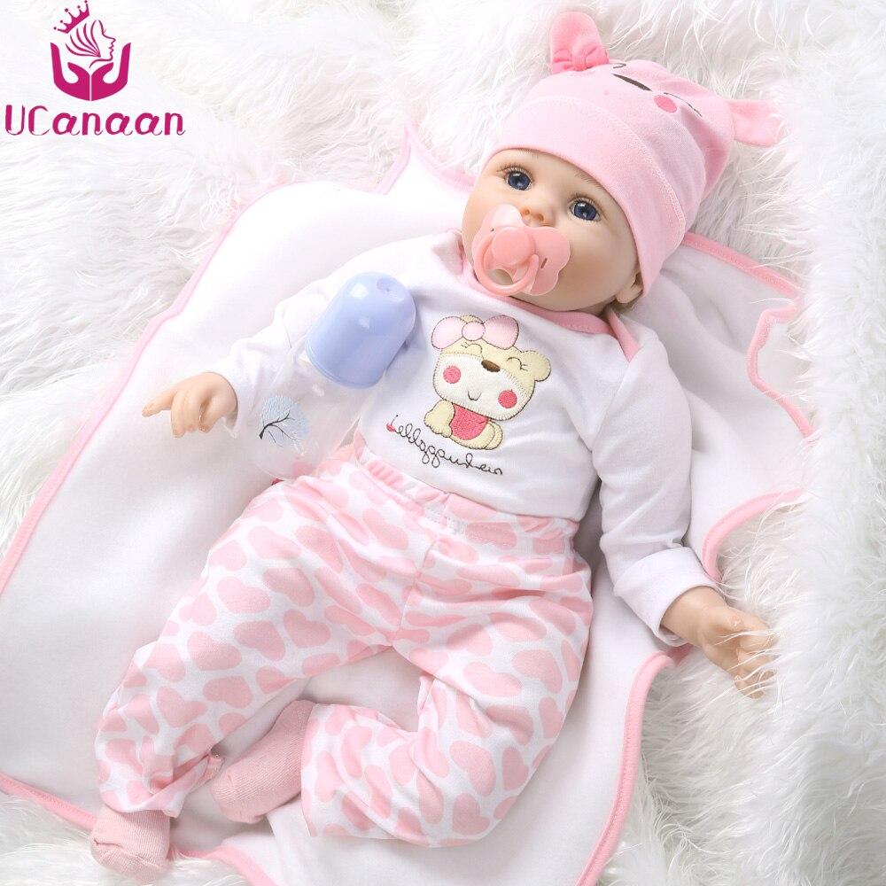 UCanaan Hair Rooted Realistic Reborn Baby Dolls Soft Silicone 22 /55cm Lifelike Newborn Doll Girl XMAS Gift ucanaan 55cm soft silicone doll reborn