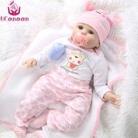 UCanaan Hair Rooted Realistic Reborn Baby Dolls Soft Silicone 22 55cm Lifelike Newborn Doll Girl XMAS