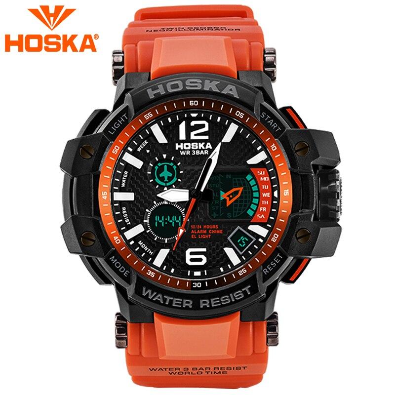 Marca hoska reloj hombre estudiante pantalla dual del muchacho relojes hombres deporte impermeable 30 m LED Digital-reloj