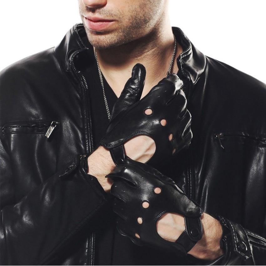 Originální kožené pánské rukavice módní ležérní jízdní ovčí rukavice prodyšné zápěstí spony pět prstů kožené rukavice M018W