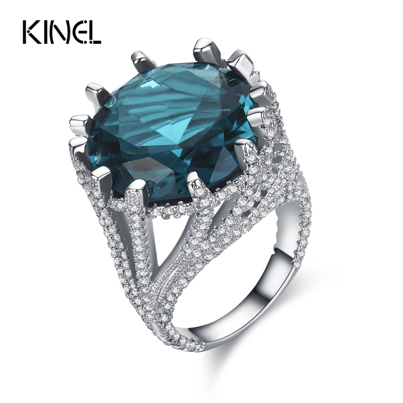 Kinel Luxury CZ Zircon Rings For Women Silver Color Blue Big Ring Party OL Accessories 2017 New Fashion Gifts недорого