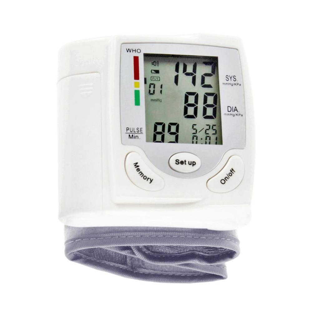 Automatische Digitale LCD Display Handgelenk Blutdruck Monitor Herzschlag Rate Pulse Meter Messen Tonometer Blutdruckmessgerät Weiß