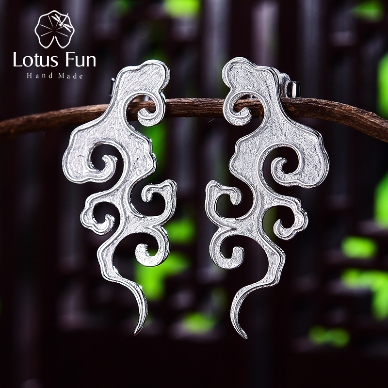 Lotus Fun Real 925 Sterling Silver Fine Jewelry Original Sunset Cloud Dangle Earrings Chinese Style Vintage Earrings for Women