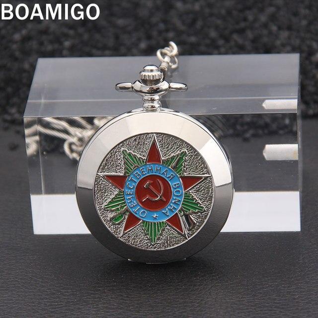 BOAMIGO Russian Vingtage Silver Soviet BOLSHEVIK Mechanical FOB Pocket Watch Mens Military Pendant Watch Chain free ship