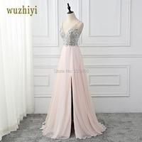 Wuzhiyi High Side Split Prom Dresses 2018 Sexy V Neck Backless Pink Chiffon With Crystal Beading
