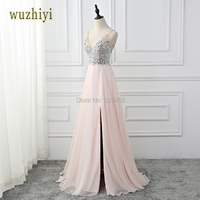 wuzhiyi High Side Split Prom Dresses 2018 Sexy V Neck Backless Pink Chiffon with Crystal beading A line Prom dress Evening Party