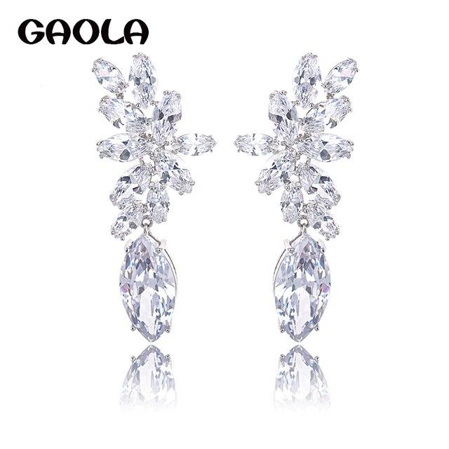 Free Shipping Alibaba Jewelry Fashion Drop Zircon Earrings Simple Style Earring Fake Gold