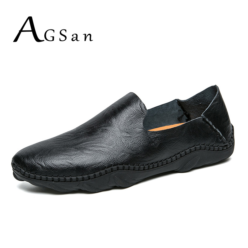 где купить AGSan Italian Loafers Men Classic Simple Driving Shoes Split Leather Men Casual Shoes Slipon Mens Moccasins Black White Flats по лучшей цене