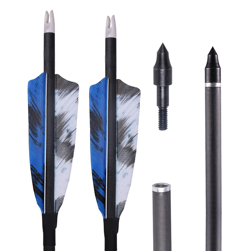 6//12PCS Archery Carbon Arrows Spine400 Zebra Skin Compound Recurve Bow Hunting