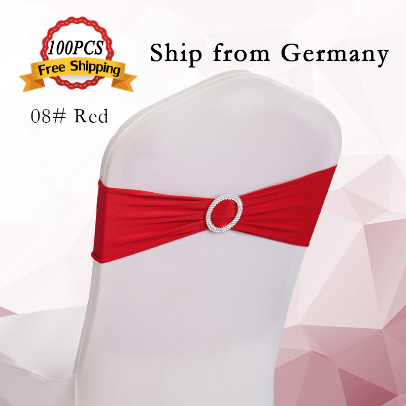 Wholesale 100PCS Lycra Chair Bands With Round Buckle Wedding Hotel Banquet Red Chair Bow for Sale